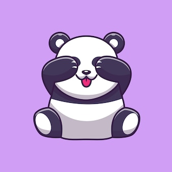 Panda bonito fechando os olhos icon ilustração. personagem de desenho animado de mascote de panda. conceito de ícone animal isolado