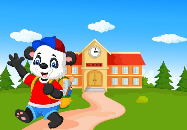 Panda bonito ir para a escola