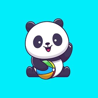 Panda bonito jogar bola de verão