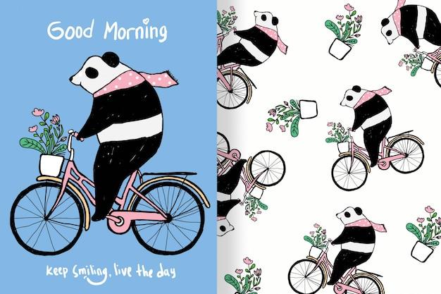 Panda bonito mão desenhada com padrões editáveis