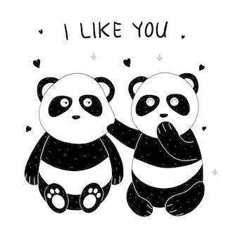 Panda bonito mão desenhada