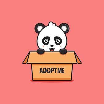 Panda bonito na caixa dizendo adote-me ilustração do ícone dos desenhos animados. projeto isolado estilo cartoon plana