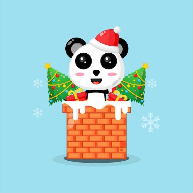 Panda bonito na chaminé com um presente de natal