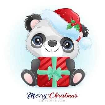 Panda bonito no dia de natal com ilustração em aquarela