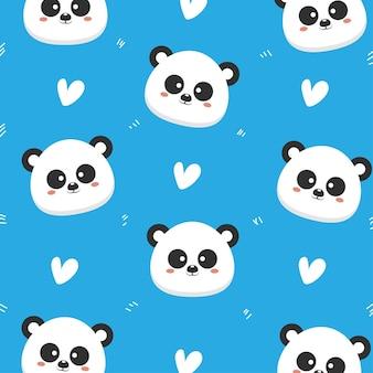 Panda bonito padrão sem emenda