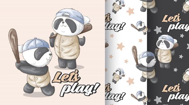 Panda bonito padrão vector set
