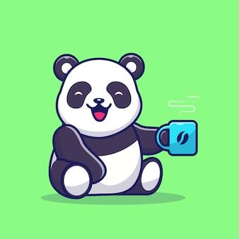 Panda bonito segurando a xícara de café dos desenhos animados ícone ilustração. conceito de ícone de bebida animal isolado. estilo flat cartoon