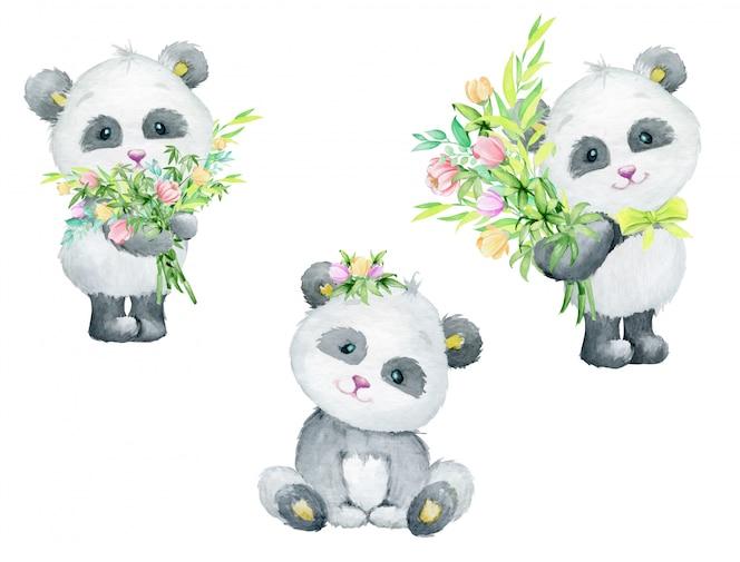 Panda bonito segurando um buquê de flores, aquarela animal fofo