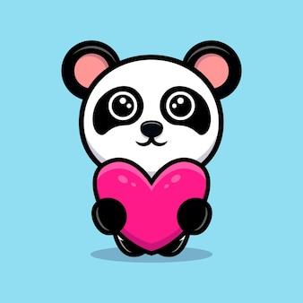 Panda bonito segurando um coração para um mascote de desenho animado de presente