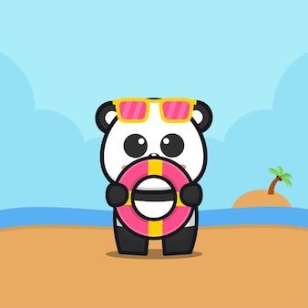 Panda bonito segurar anel de natação ilustração dos desenhos animados conceito de verão animal