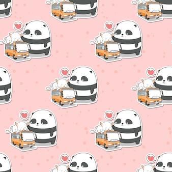 Panda bonito sem emenda e gato que está no padrão de ônibus