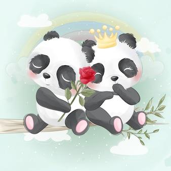 Panda bonito sentado em uma árvore
