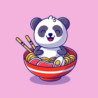 Panda bonito sentado na ilustração do ícone dos desenhos animados da tigela de macarrão.