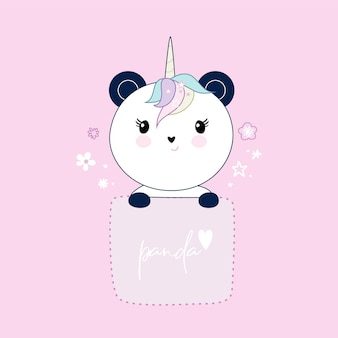 Panda bonito sentado no bolso, corações e flores