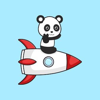 Panda bonito sente-se na ilustração do ícone dos desenhos animados do foguete. projeto isolado estilo cartoon plana