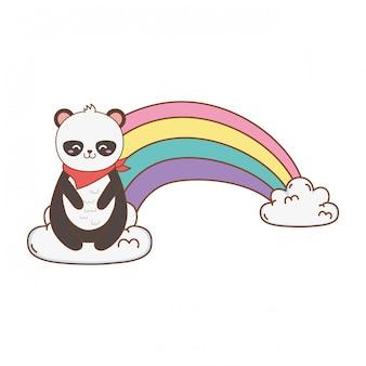 Panda bonito urso nas nuvens com arco-íris