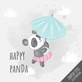 Panda bonito voando com ilustração de guarda-chuva para crianças - estilo giz de cera