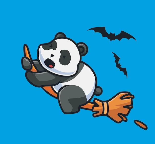 Panda bonito voando com uma vassoura mágica. conceito de evento de halloween animal dos desenhos animados ilustração isolada. estilo simples adequado para vetor de logotipo premium de design de ícone de etiqueta. personagem mascote