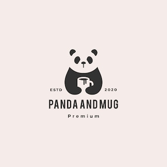 Panda café caneca logotipo vintage hipster retro