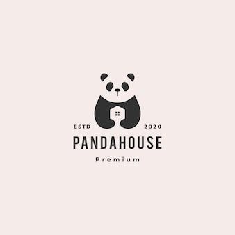Panda casa logotipo hipster retro vintage