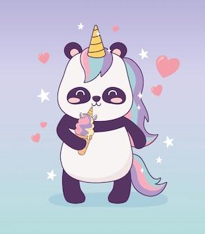 Panda com personagem de desenho animado de sorvete de unicórnio fantasia mágica