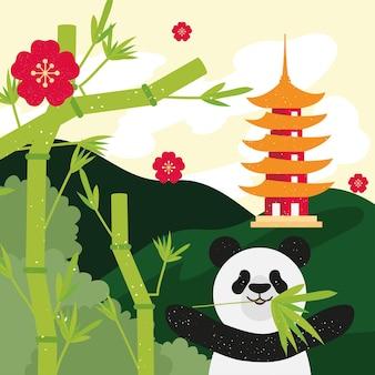 Panda com templo chinês