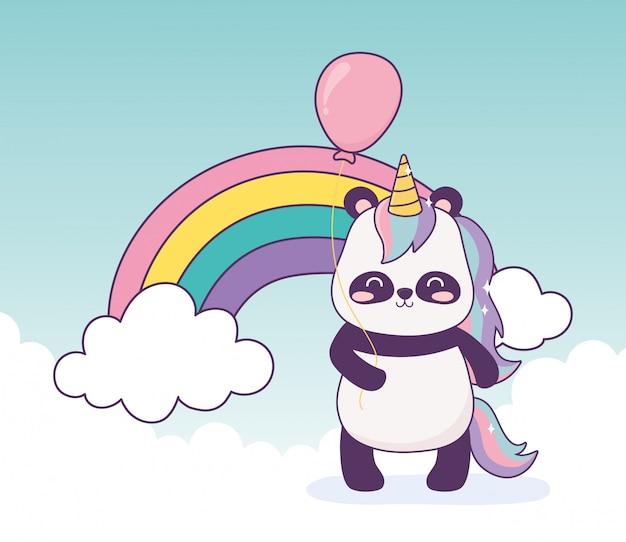 Panda com unicórnio e balão arco-íris decoração dos desenhos animados