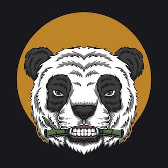 Panda come ilustração de cabeça de bambu