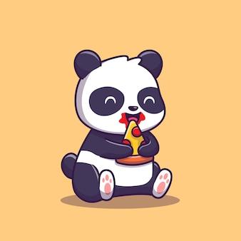 Panda comer pizza fatia cartoon ilustração