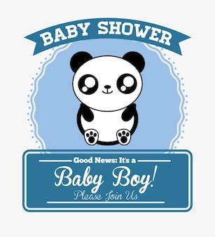 Panda cute animal cartoon ícone de cartão do chuveiro de bebê