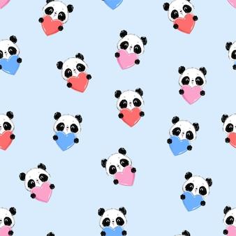Panda de padrão sem emenda e cartão de ilustração de coração para o dia dos namorados