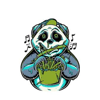 Panda de personagem de desenho animado tocando flauta de bambu