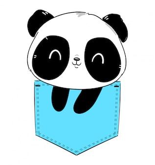 Panda desenhado de mão sentado no bolso. ilustração de esboço