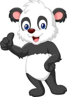 Panda dos desenhos animados, dando o polegar para cima