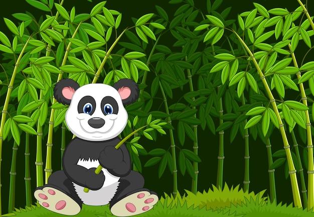 Panda dos desenhos animados no bambu da selva
