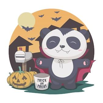 Panda drácula no meio da noite. dia das bruxas, morcego, caixa de correio, abóbora.