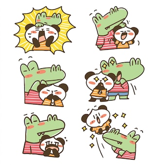 Panda e adorável casal de crocodilos