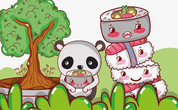 Panda e comida japonesa