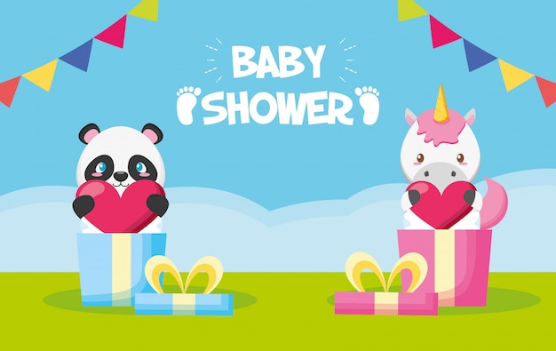 Panda e unicórnio em caixas de presente para cartão de chuveiro de bebê