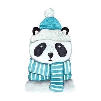 Panda em aquarela de natal com lenço e chapéu azuis