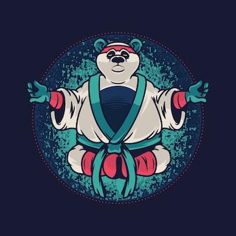 Panda em ilustração de pose de meditação