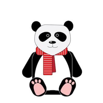Panda em lenço listrado vermelho isolado no fundo branco