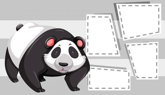 Panda em quadros de nota copyspace