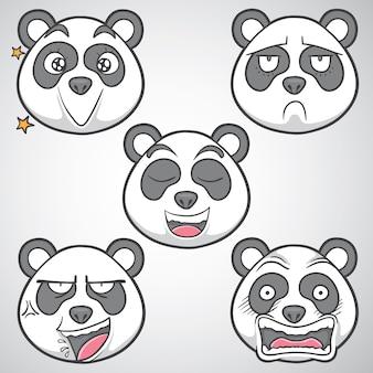 Panda emoticon ilustração vetor conjunto 4