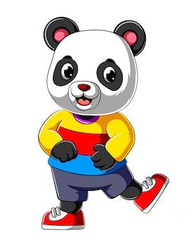 Panda feliz dos desenhos animados com sorriso, vestindo camisa esporte