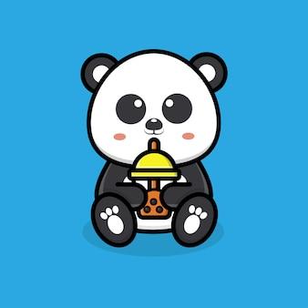 Panda fofa bebendo chá de boba