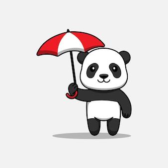 Panda fofa carregando um guarda-chuva