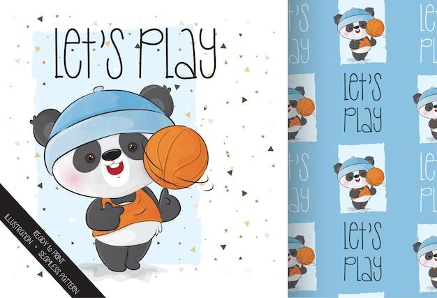 Panda fofa feliz jogando basquete com padrão uniforme