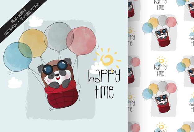 Panda fofa feliz voando com balão padrão sem emenda