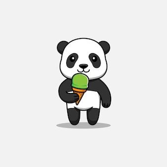 Panda fofa tomando sorvete